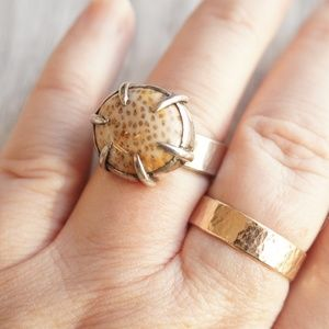 Fossilized coral cabochon gemstone statement ring,